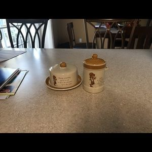 Holly Hobbie canister and cheese dish covered